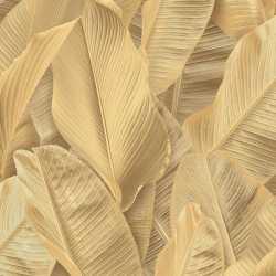 Carta da parati foglie di banano oro Lymphae 17802