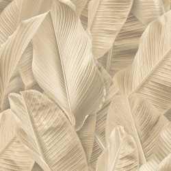 Carta da parati foglie di banano beige Lymphae 17806
