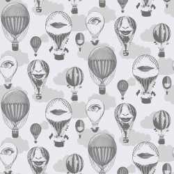 Wallpaper carta da parati Caselio mongolfiere 65099009 bianco e nero