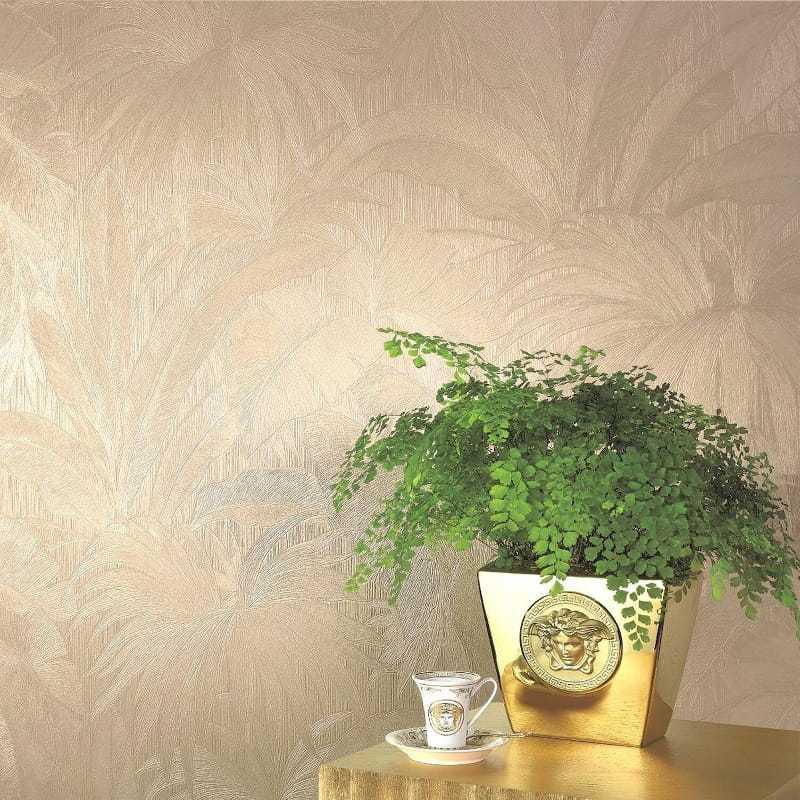 Carta da parati Versace giungla foglie di palma 96240-2 ambientazione